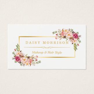 Salón de belleza floral elegante del artista de tarjetas de visita