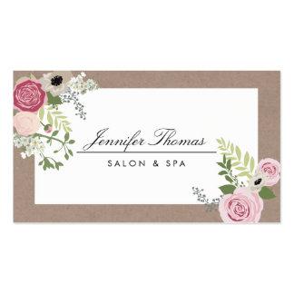 Salón de belleza floral moderno del adorno del tarjetas de visita