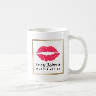 Salón de belleza moderno de los labios rojos del taza de café