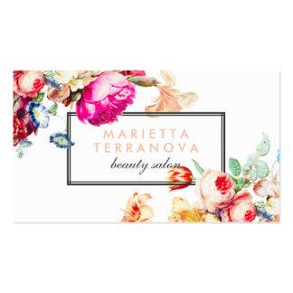 Salón de belleza rayado floral elegante del tarjetas de visita
