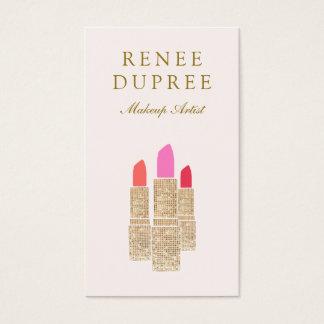 Salón de belleza rosado del artista de maquillaje tarjeta de negocios