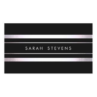 Salón de belleza y balneario rayados negros de pla tarjeta de visita