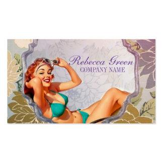 salón de bronceado retro del artista de maquillaje tarjetas de visita