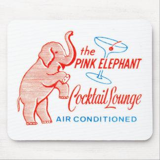 Salón de cóctel del elefante rosado del vintage de mousepads