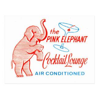 Salón de cóctel del elefante rosado del vintage de tarjetas postales