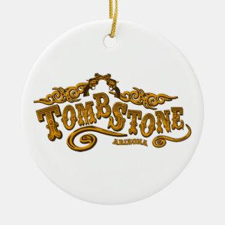 Salón de la piedra sepulcral adorno navideño redondo de cerámica