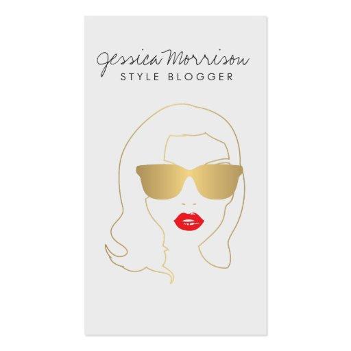 Salón de pelo, Blogger del estilo, oro II del Tarjetas De Visita