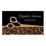 Salón de pelo elegante del leopardo del negro y de plantillas de tarjetas de visita