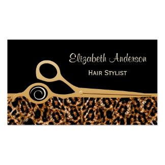 Salón de pelo elegante del leopardo del negro y tarjetas de visita