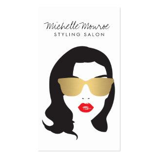 Salón de pelo, estilista, chica de la belleza tarjetas de visita