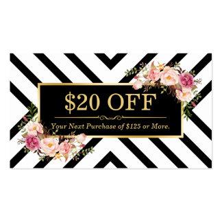 Salón de pelo floral de la belleza del oro de la tarjetas de visita