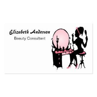 Salón de pelo negro rosado femenino del consultor tarjetas de visita