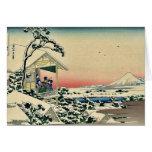 Salón de té, después del nevadas por Katsushika, H Tarjetas