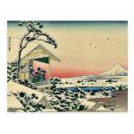Salón de té, después del nevadas por Katsushika, H Tarjetas Postales