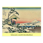 Salón de té, después del nevadas por Katsushika, H Postales