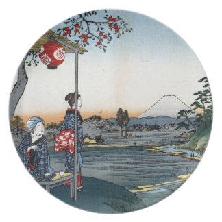 Salón de té japonés fino de Fujimi del arte Plato De Cena