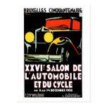 Salón del auto de Bruselas del art déco del vintag Tarjetas Postales