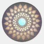 Salón del logotipo de la mandala de Lotus y madera Pegatina Redonda