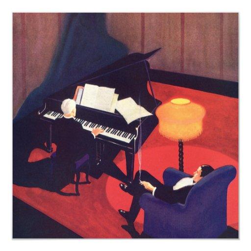 Salón del pianista del pianista de la música del invitación 13,3 cm x 13,3cm