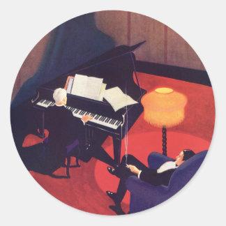 Salón del pianista del pianista de la música del pegatina redonda