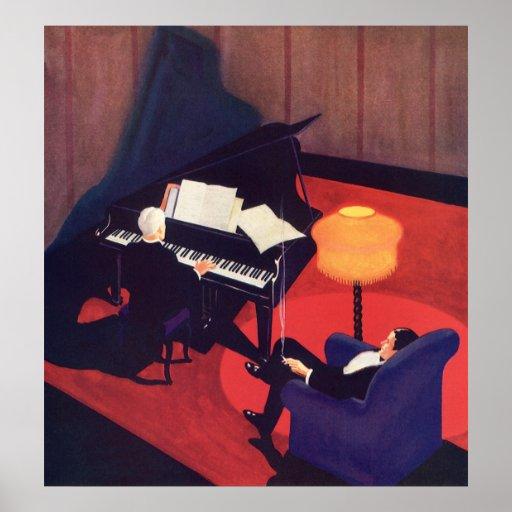 Salón del pianista del pianista del art déco de la posters