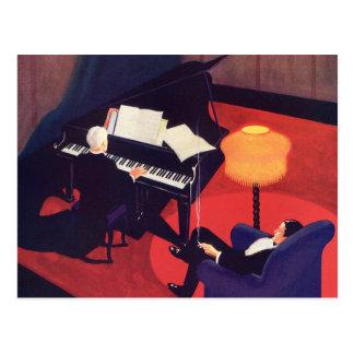 Salón del pianista del pianista del art déco de la tarjeta postal