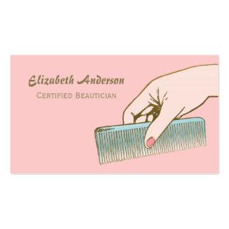 Salón del rosa y de pelo del peine del vintage del plantillas de tarjetas de visita