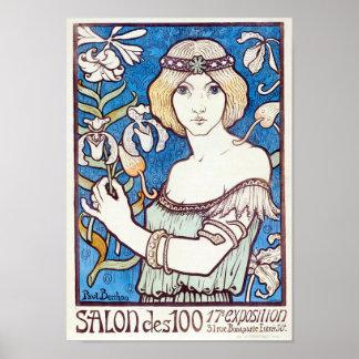 Salon des Cent, Art Nouveau cover by Paul Berthon Poster