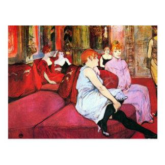 Salón en la ruda de Moulins por Toulouse-Lautrec Postal