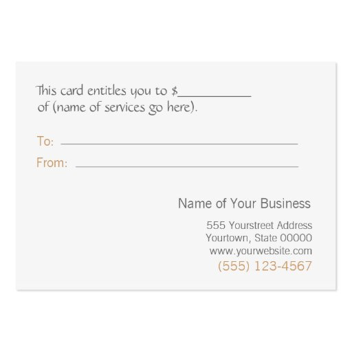 Salon Faux Gold Leaf and Gray Gift Certificate Business Card Template (back side)