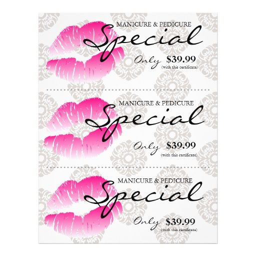 Salon Flyer Spa Lips Pink Damask Floral