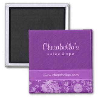 Salon Fridge Magnet Spa floral damask purple