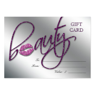 Salon Gift Card Beauty Lips Sparkle Purple Large Business Cards (Pack Of 100)