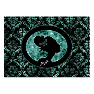 Salon Gift Card Butterfly Vintage Damask Teal Large Business Cards (Pack Of 100)