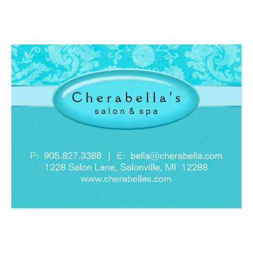 Salon Gift Card Certificate Spa Blue Damask Business Card