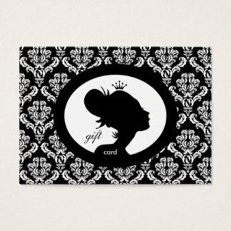Salon Gift Card Crown Woman Silhouette BW