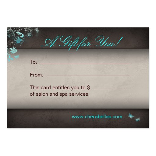 Salon Gift Card Spa Butterfly Business Card Templates