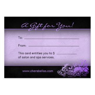 Salon Gift Card Spa Floral purple Business Card Templates