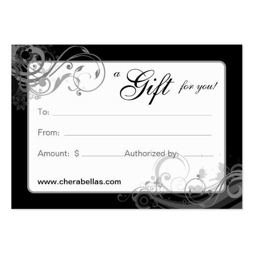 Salon Gift Card Spa Floral Swirls Black White
