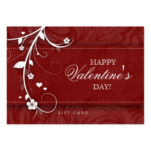 Salon Gift Card Spa Flower Floral Red Hearts Business Card Template
