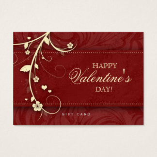 Salon Gift Card Spa Flower Floral Red Hearts Cream