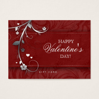 Salon Gift Card Spa Flower Floral Red Hearts Silve