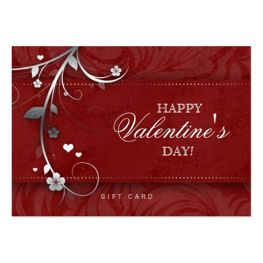 Salon Gift Card Spa Flower Floral Red Hearts Silve Business Card Templates