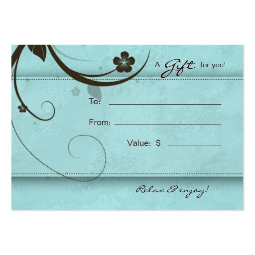 Salon Gift Card Spa Flower watery blue Business Cards