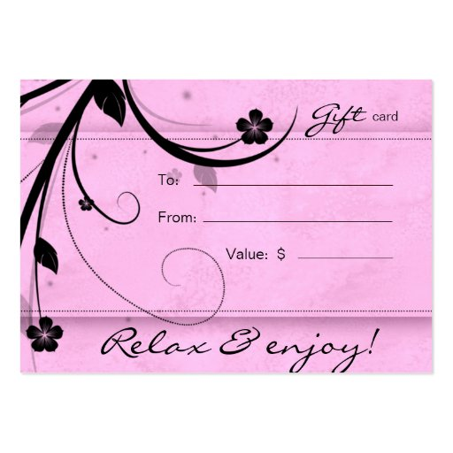 Salon Gift Card Spa Flower watery pink Business Card