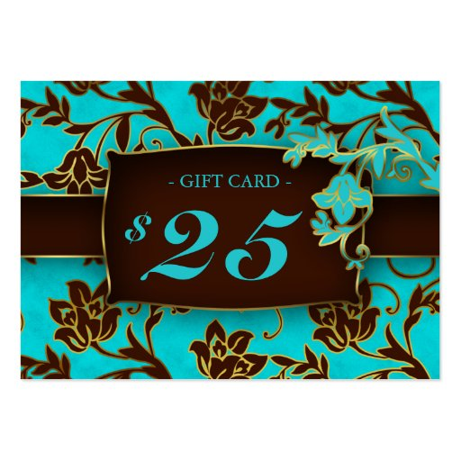 Salon Gift Card Spa Gold Floral BB $25 Business Cards