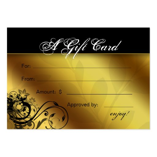 Salon Gift Card Spa Gold Floral Butterfly Frame Business Card Template