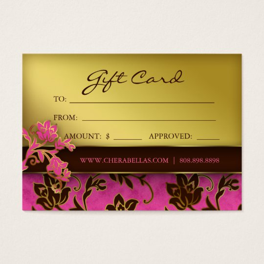 Salon Gift Card Spa Gold Floral Pink Brown