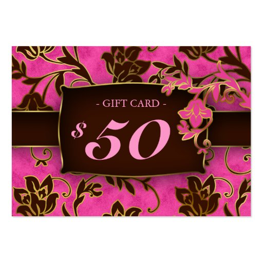 Salon Gift Card Spa Gold Floral Pink Brown $50 Business Card Templates