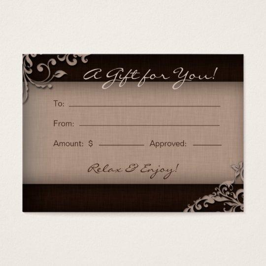 Salon Gift Card Spa Linen Floral Brown Beige